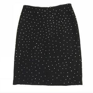 Ann Taylor Sequin Black Wool Blend Skirt Sz 2